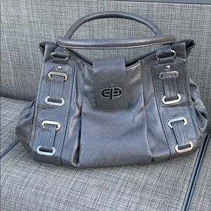 Braciano Gray Leather Satchel